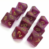 Magenta & Gold Borealis D10 Ten Sided Dice Set